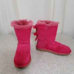 UGG Bailey Bow Pink Boots Size 2